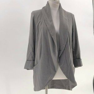 Wilfred gray open front cardigan silk trim pockets